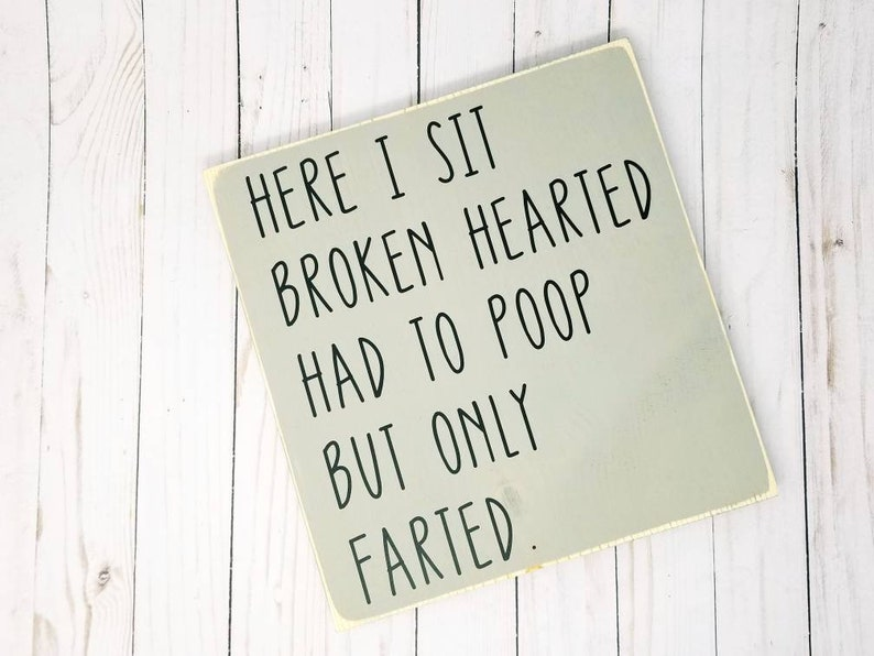 Here I Sit Broken Hearted Had To Poop But Only Farted Wood image 0