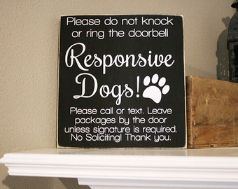 """12x12"""" No Soliciting Responsive Dogs Vinyl Decal - Perfect for DIY Project - Dog Home - Dog Family - Do Not Ring The Bell - Welcome Stickers"""