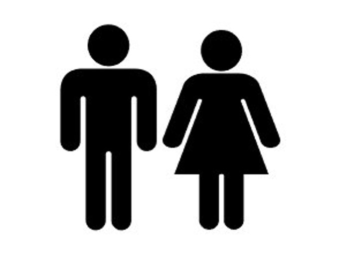 "FREE PRIORITY SHIPPING //  6.4x6"" Bathroom Door Decal - Bathroom Decor - Stick Figure - Door Decal - Home - Home Decor - Washroom, Stickers"