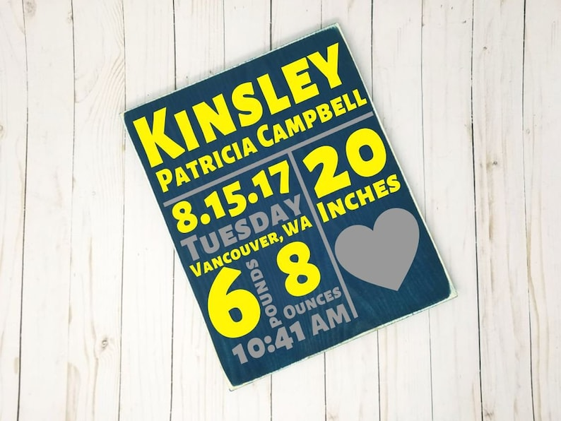 Birth Stats Wood Sign  New Baby Gift Great Gift Idea Room image 0