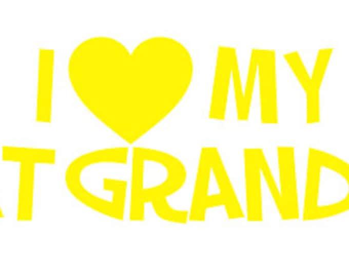 "FREE SHIPPING //  8x1.894"" I Love My Great Grandkids Car Decal - Grandma - Grandpa - Vinyl Decal - Grandkids - Papa - Mama - Mimi - Vehicle"