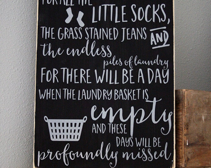 "12x18"" Empty Laundry Baskets Wood Sign"