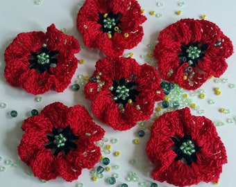 Knitted poppies etsy crochet small poppy flowers with green beads set 6 pieces knit red poppy red flowers applique embellishing poppies decoration mightylinksfo