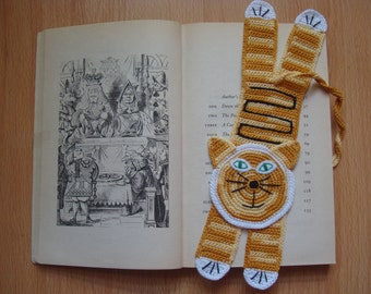 Crochet Cat Bookmark | Tabby Ginger Cat Bookmark | Funny Gift | Handmade Crocet Knit Bookmark | Jerome Ginger Cat