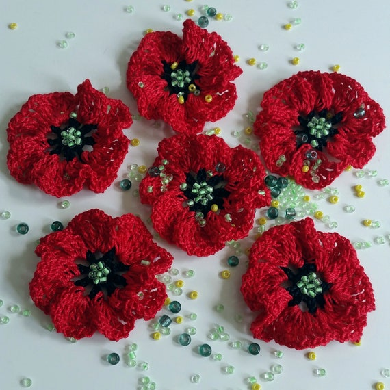 Crochet Small Poppy Flowers With Green Beads Set 6 Pieces Etsy