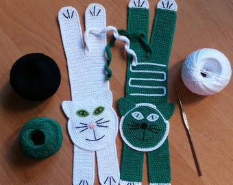 Crochet Cat Bookmark | Green-Eyed Emerald Cat Bookmark | Handmade Crochet Knit Unique