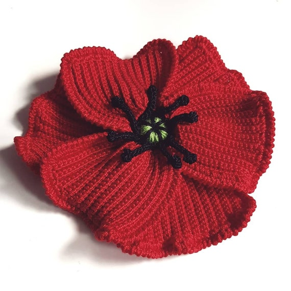 Handmade Crochet Rememberance Poppy Brooch