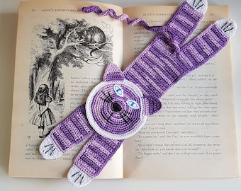 Handmade Crochet Cat Bookmark | Tabby Purple Blue Eyes Cat Bookmark | Funny Gift for Book Lovers | Back to School Gift | Gift for Teacher