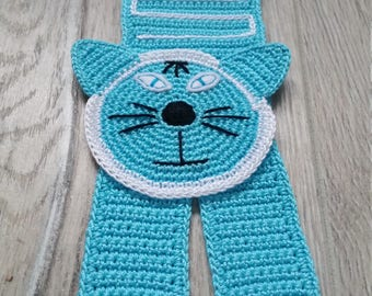 Crochet Cat Bookmark | Sergei, the Blue-Eyed Arctic Turquoise Cat Bookmark | Handmade Crochet Knit