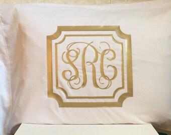 Scalloped Frame Monogrammed Pillowcase