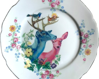 Deer couple - Vintage Porcelain Plate - #0539