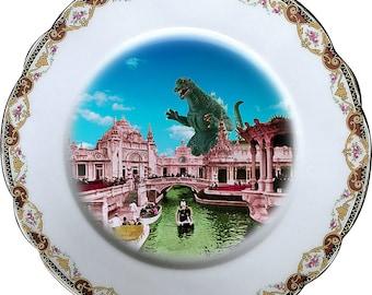 Romantic Victorian Landscape - Godzilla - Vintage Porcelain Plate - #0473