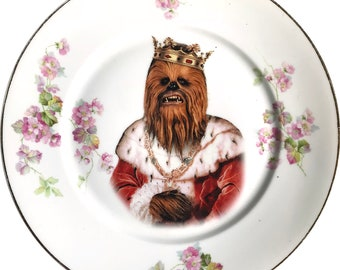 King of the Wookies - Chewbacca - Star Wars - Vintage Porcelain Plate - #0591