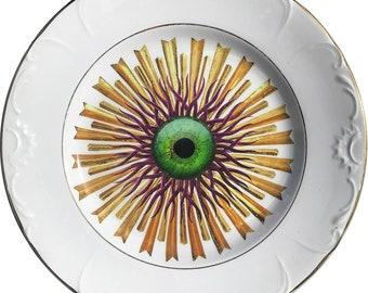 Medusa Burst - Green Eye - Vintage Ceramic Plate - #0617