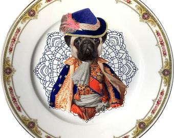 Lord Pug - Carlino - Vintage Porcelain Plate - #0564