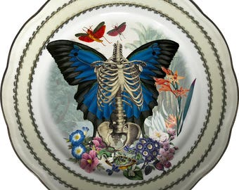 Skeleton n Wings - Skull - Vintage Porcelain Plate - #0574
