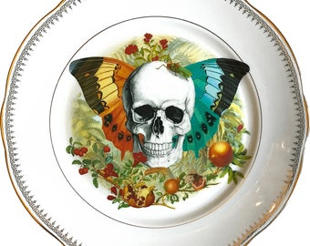 Skull 'N Wings - Vintage Porcelain Plate - #0556