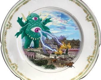 The green Monster - Madrid - Vintage Porcelain Plate - #0568