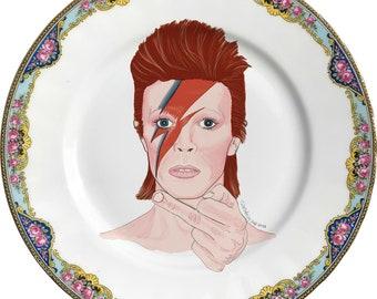 David Bowie - Ziggy Stardust - RAY - Watercolor - Vintage Porcelain Plate - #0610