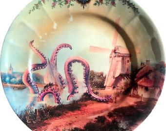 Octopus Attack - Vintage Porcelain Plate Full Print - #0370