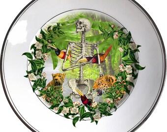 Jungle bones - Skull - Vintage Porcelain Plate - #0506
