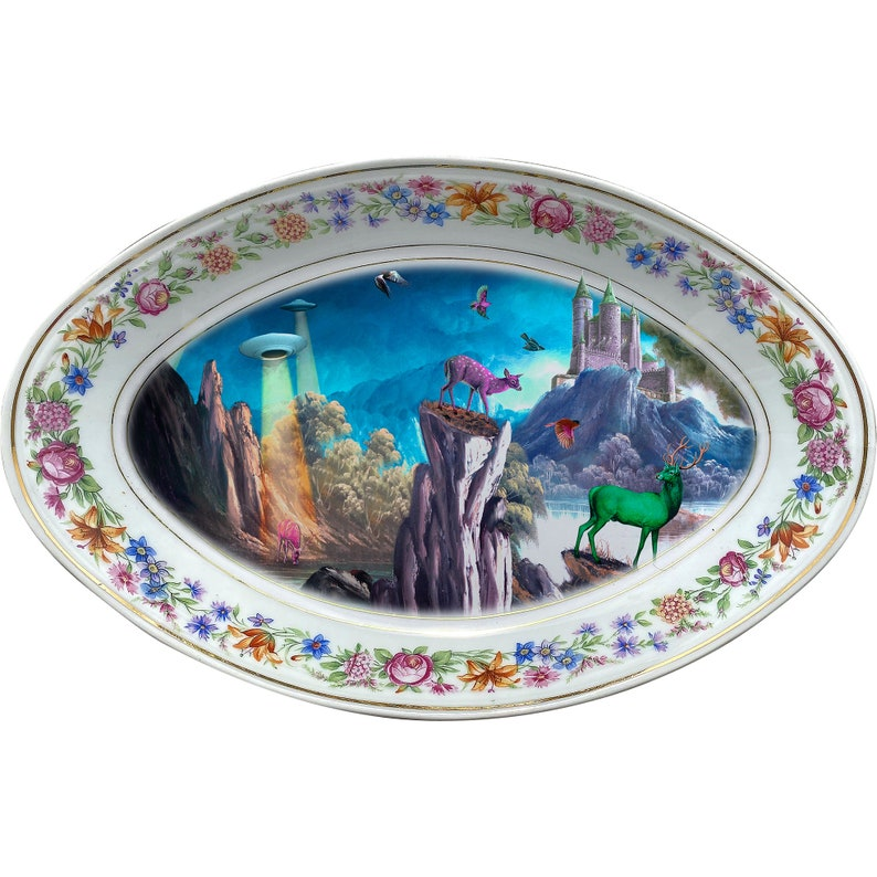 Deer Landscape LARGE Tray #0751 UFO Vintage Unique Porcelain Tray