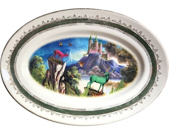 Deer Landscape LARGE Tray - UFO - Vintage Unique Porcelain Tray - #0489