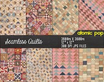 Instant Download // Antique Farmhouse Quilt Bedspread Repeating Pastel Pattern Wallpaper Digital Paper Pack // Decoupage // Scrapbooking