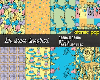 Instant Download // Dr. Seuss Inspired Whimsical Repeating Pastel Pattern Wallpaper Digital Paper Pack // Decoupage // Scrapbooking