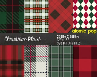 Instant Download // Christmas Holiday Green Red Plaid Tartan  Digital Paper Pack// Seamless Tiles //