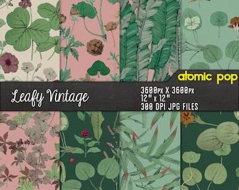 Instant Download // Vintage Floral Leaves Palm Tile Repeating Pattern Wallpaper Digital Paper Pack