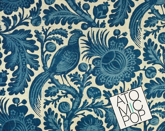Instant Download // Antique Indigo Blue Cotton Chinoiserie Textile Digital Papers // Arts and Crafts // Digital Download