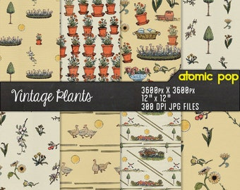 Instant Download //Kids and Nature Decoupage Wallpaper Digital Paper Pack // Seamless Tiles Patterns