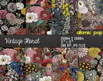 Instant Download // Vintage Floral Seamless Tile Repeating Pattern Wallpaper Digital Paper Pack