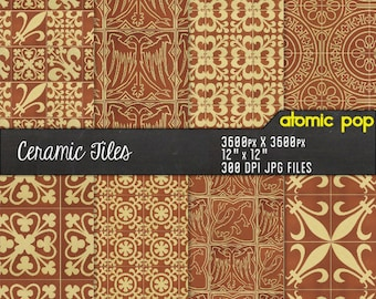 Ceramic Brown Mosaic Tile Floor Digital Paper Pack// Instant Download Seamless Tile Patterns // Digital Scrapboking