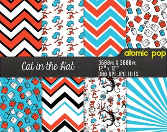 Instant Download // Dr. Seuss Inspired Cat in the Hat Red Blue Wallpaper Digital Paper Pack //