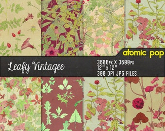 Instant Download // Vintage Floral Leaves Tile Repeating Pattern Wallpaper Digital Paper Pack