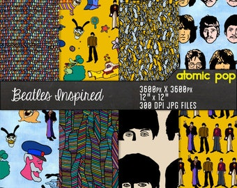 Instant Download // Beatles Inspired Psychedelic Yellow Submarine Wallpaper Hand Drawn Digital Paper Pack //
