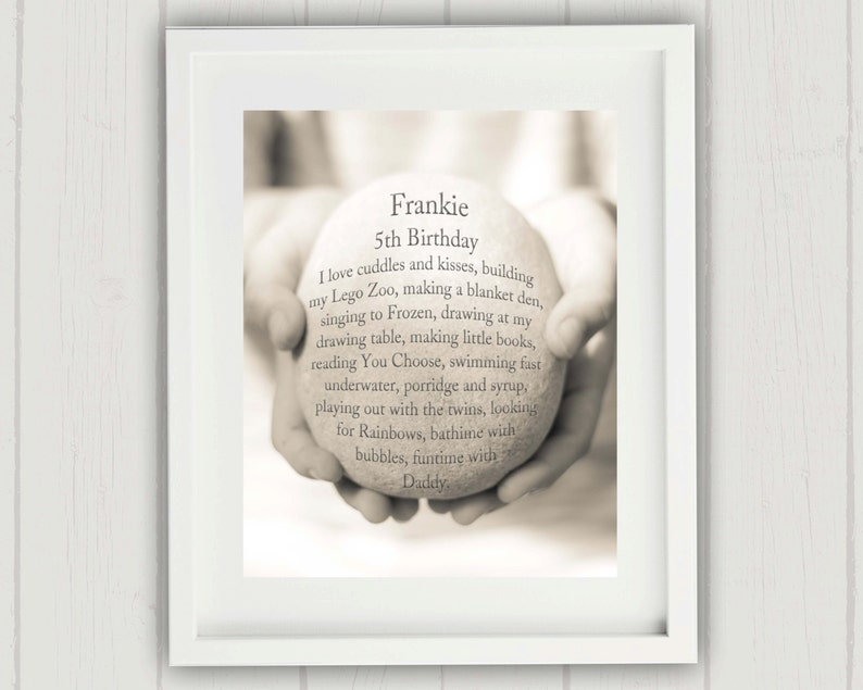 Childs Birthday Gift Personalized First Girl Unique Favorite Things Print