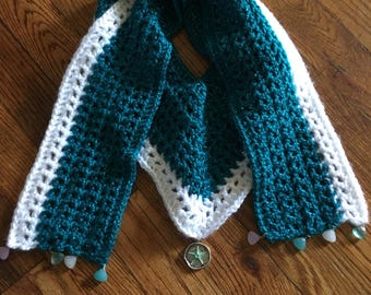 Blue green and white v neck scarf with pendents