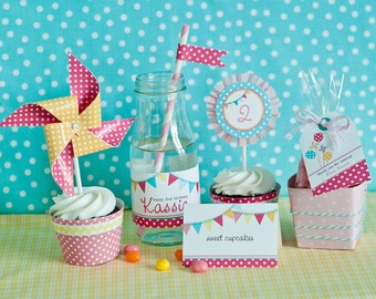 Pinwheels, Pennants and Polka Dots Birthday - Printable Customized Package