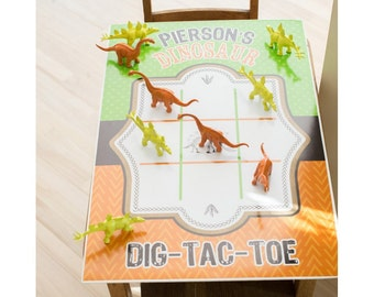 Dinosaur Excavation Dino Dig Birthday Tic Tac Toe Poster - Printable Customized Poster