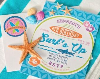 Surfer Girl Surfs Up Sharks Birthday Party - Printable Customized 5x7 Invitation