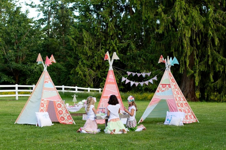 Tea Party Tent Glam Camping TeePee Girl Glamping Outdoors Birthday Party -  Printable Customized Package