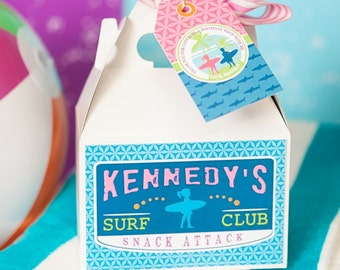 Surfer Girl Surfs Up Surf Club Customized Snack Attack Box Labels