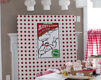 Pizzeria Pizza Party Pin the Mustache on the Chef Game - Printable Customized 20 x 30 Poster