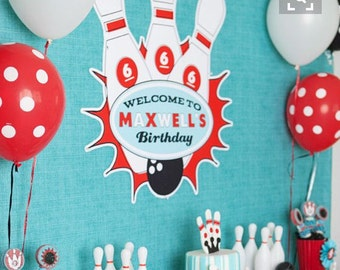 Retro Bowling Pin Ball Name Birthday Sign - Printable Customized Poster