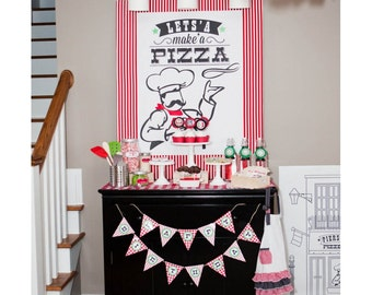 Pizzeria Pizza Party Let's Make a Pizza Sign - Printable 28 x 36 Poster