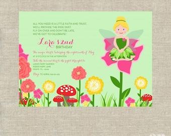 Fairy Garden Outdoor Flowers Party Birthday - Printable Customized Invitation