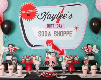 Retro Soda Shoppe 50s Diner Birthday Party - Printable Customized Package